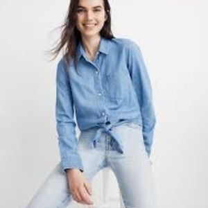 NWT Madewell Denim Tie-Front Shirt, Hillford Wash